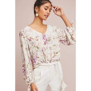 Maeve floral tied sleeve blouse